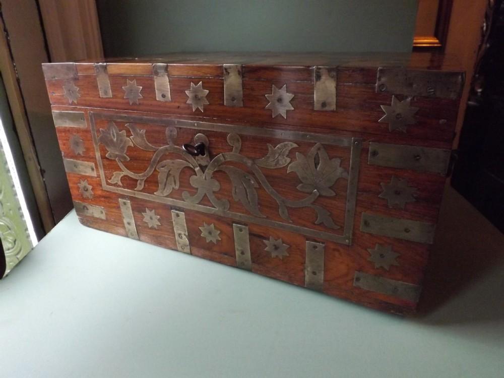 c19th angloindian brassbound teak travelling writingcorrespondence box