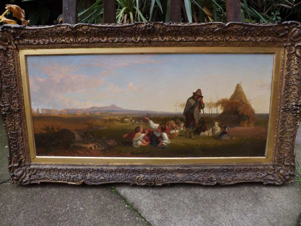 c19th oiloncanvas painting of italian landscape scene by penry williams