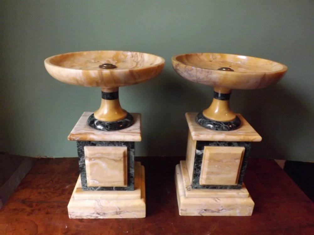pair of late c19thearly c20th italian marble tazzas