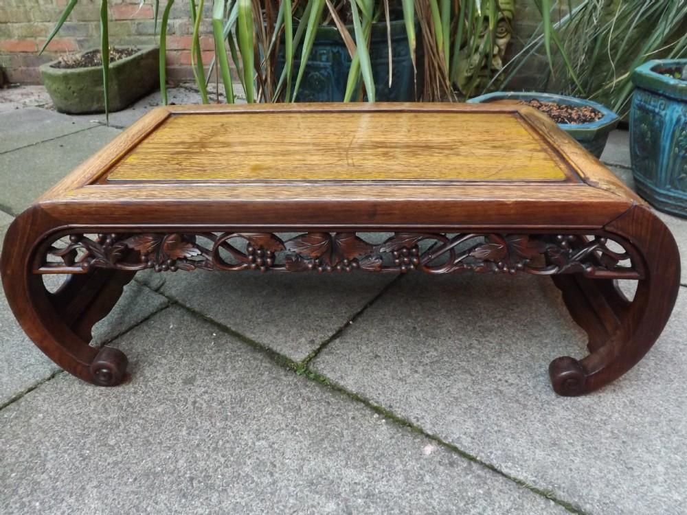 late c19th chinese qing dynasty carved hardwood scrollended 'kang''opium' table