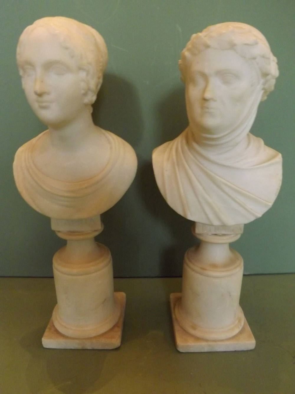 pair of c19th italian carved alabaster busts of petrarca and laura