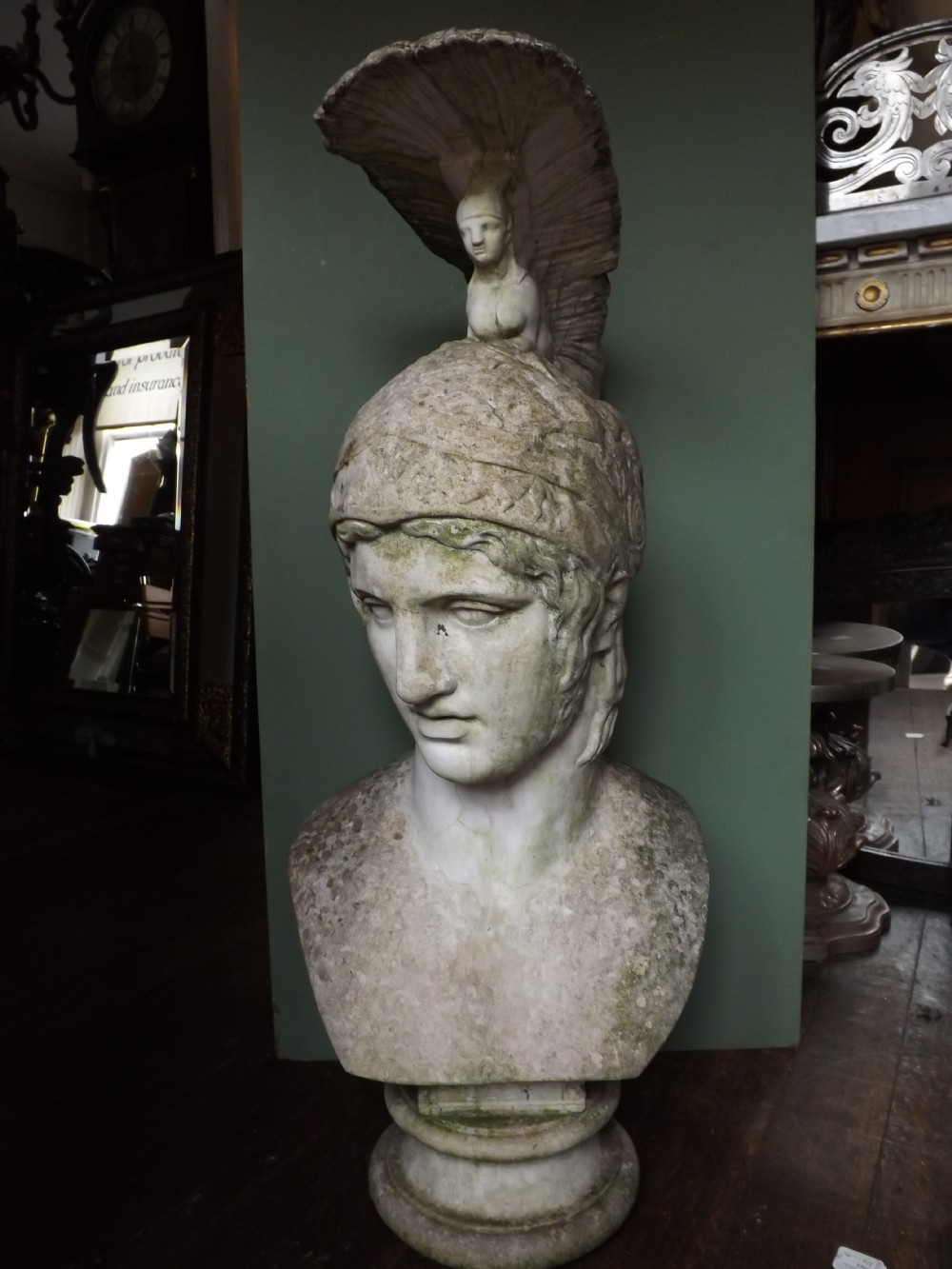 impressive c20th cast composition 'stone' bust study of ares the greek god of war
