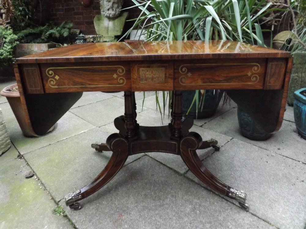 early c19th regency period brassinlaid rosewood sofa table in the manner of george oakley