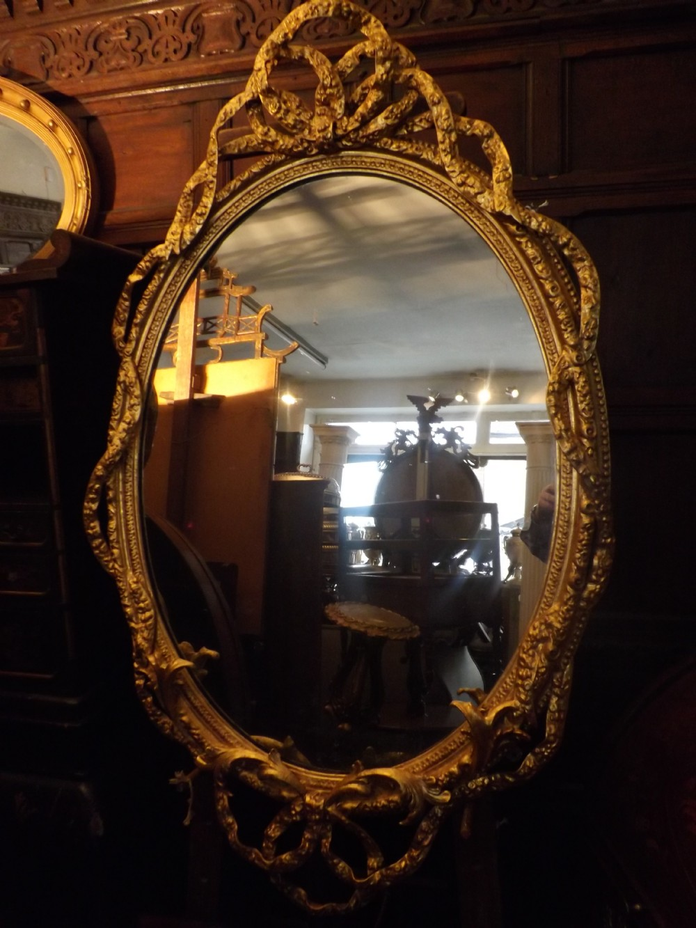 late c19th french giltwood and gessoframed oval mirror of good large scale