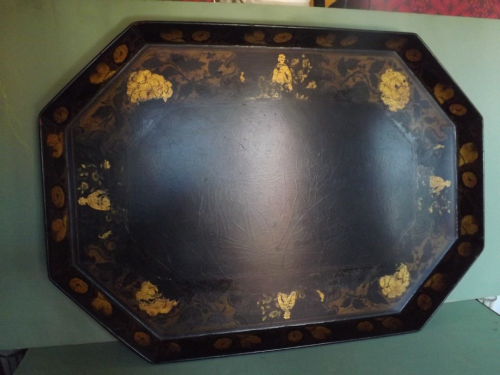 early c19th regency period papiermch tray with gilt 'chinoiserie' decoration