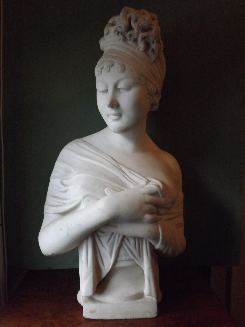 c19th carved white statuary marble bust of madame juliette recamier after the original study by joseph chinard