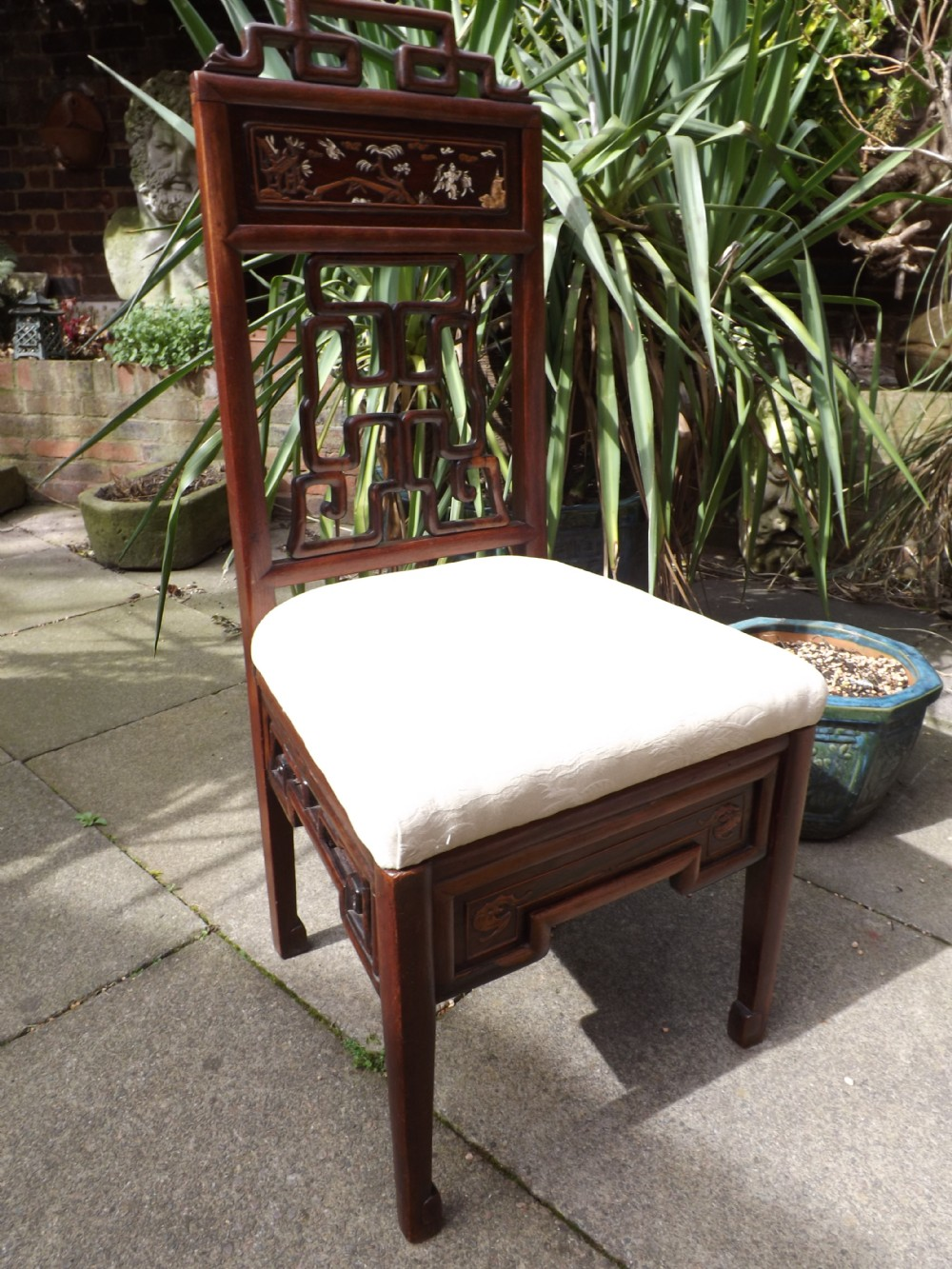 late c19th early c20th chinese hardwood sidechair with open fretwork back and ivory and boxwood inlaid panel
