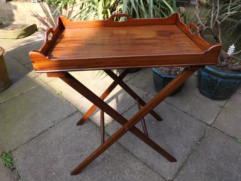 early c19th george iii period mahogany 'butlers' tray on folding stand