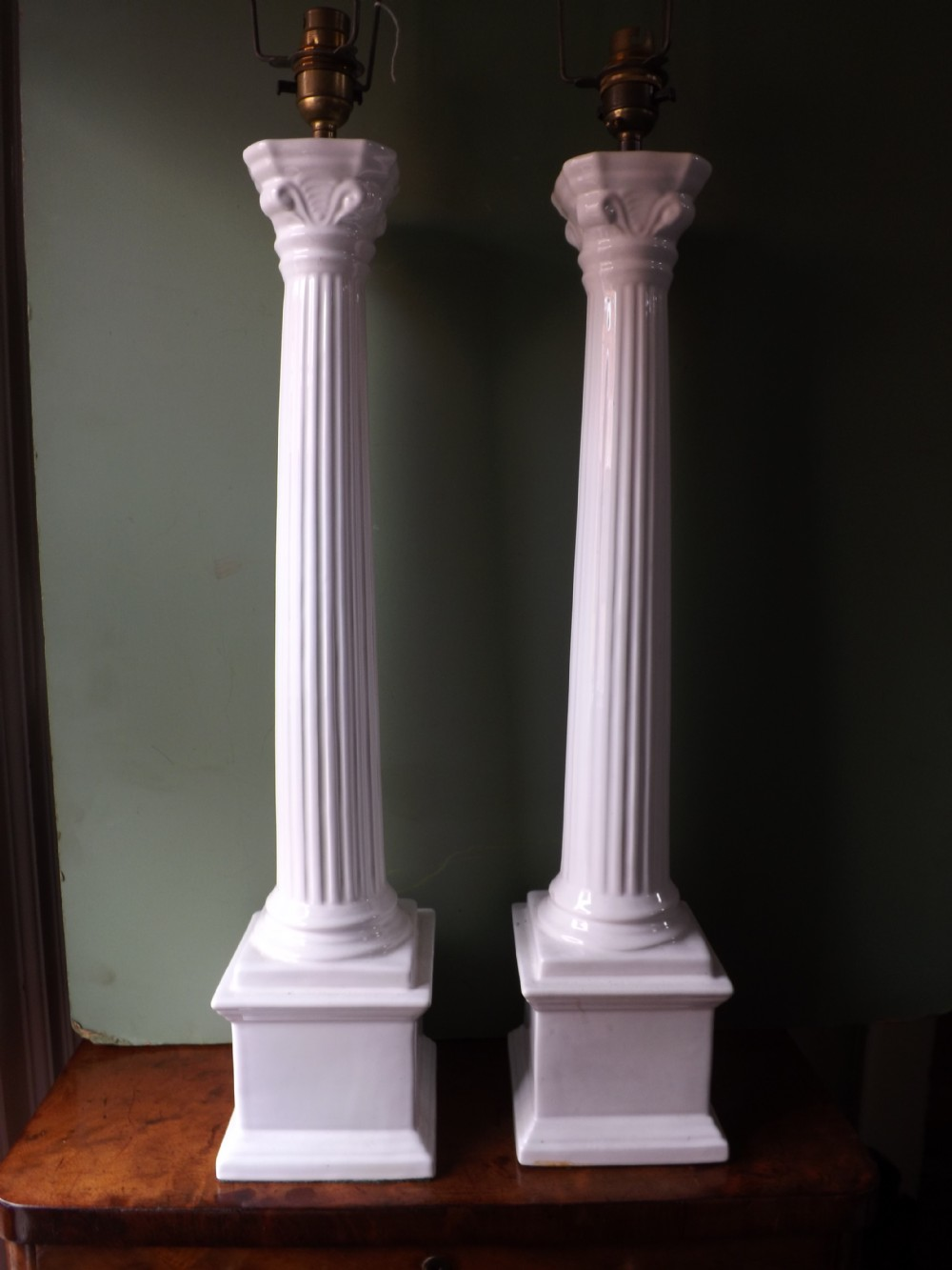 pair of early c20th italian pottery classical column lampbases