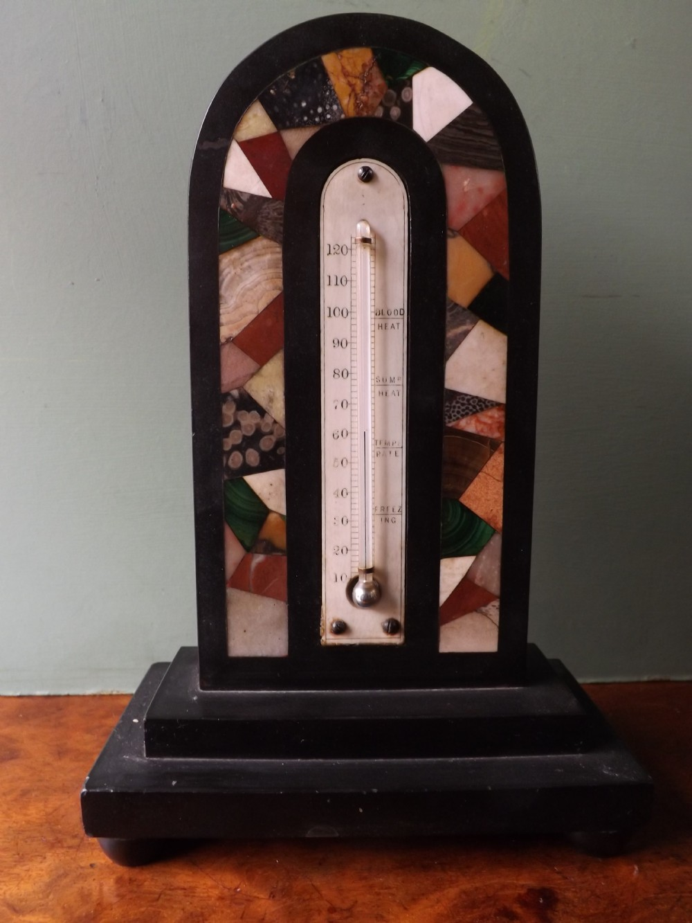 c19th specimen marbleinlaid english desktop thermometer