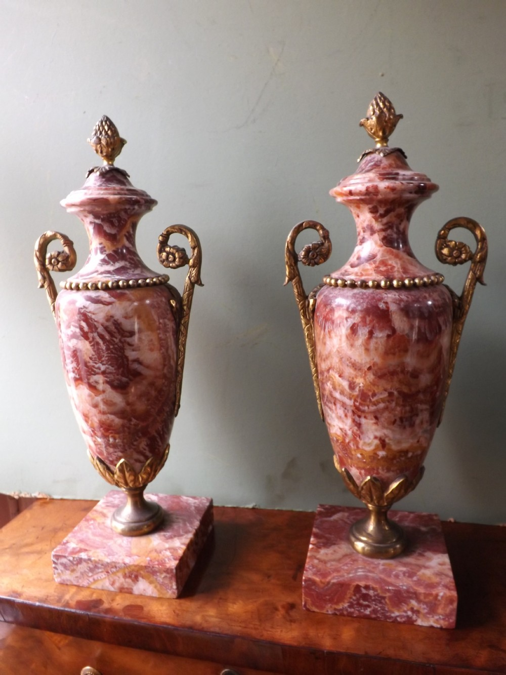 pair of late c19th french ormolumounted agatemarble vases in louis xvi style