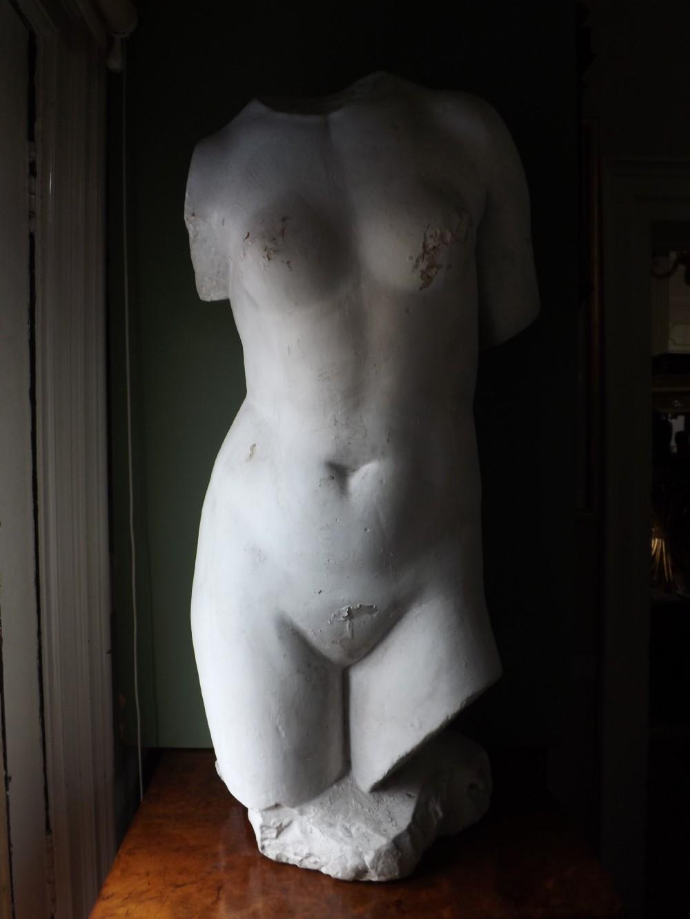 late c19th decorative plaster cast torso of venus or aphrodite