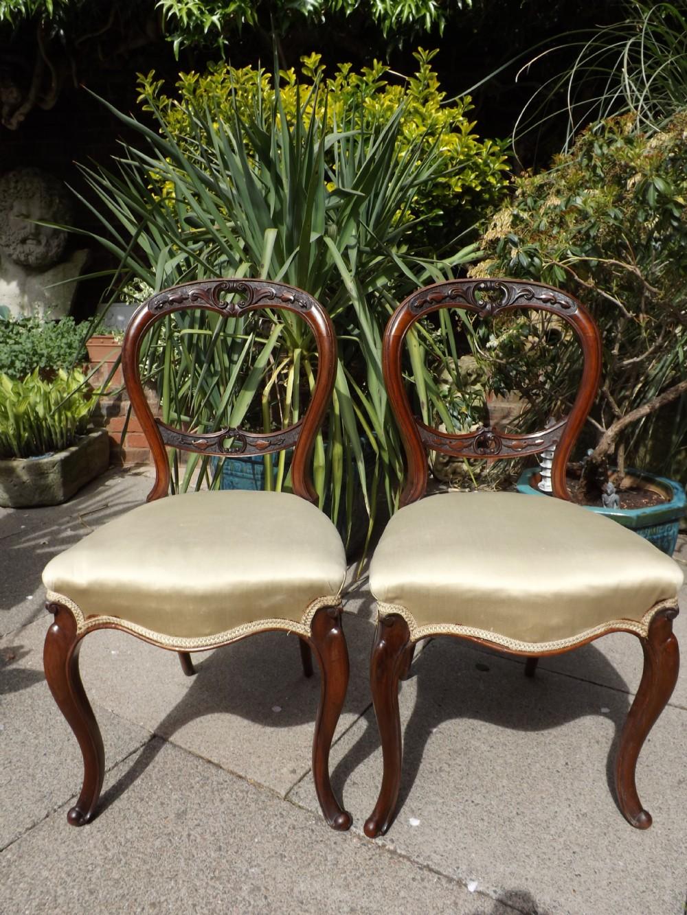 pair of mid c19th victorian period walnut salonsidechairs
