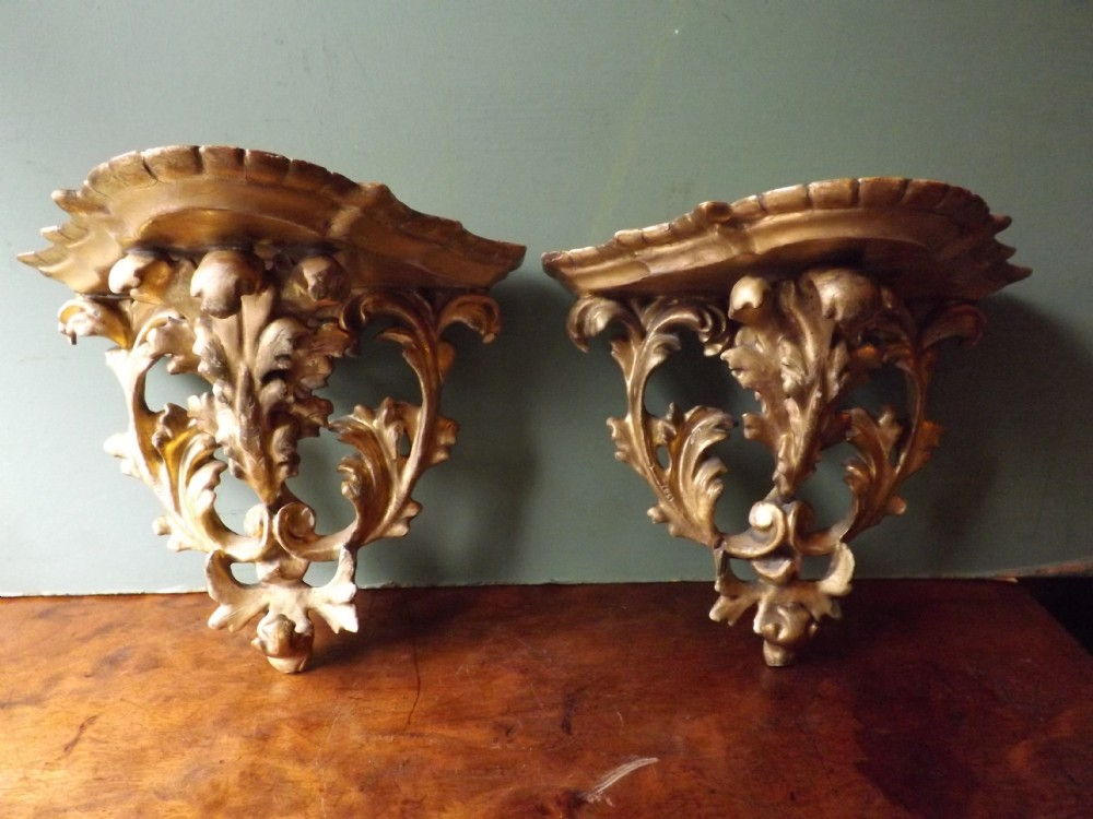 pair of late c19thearly c20th italian florentine carved giltwood wallbrackets