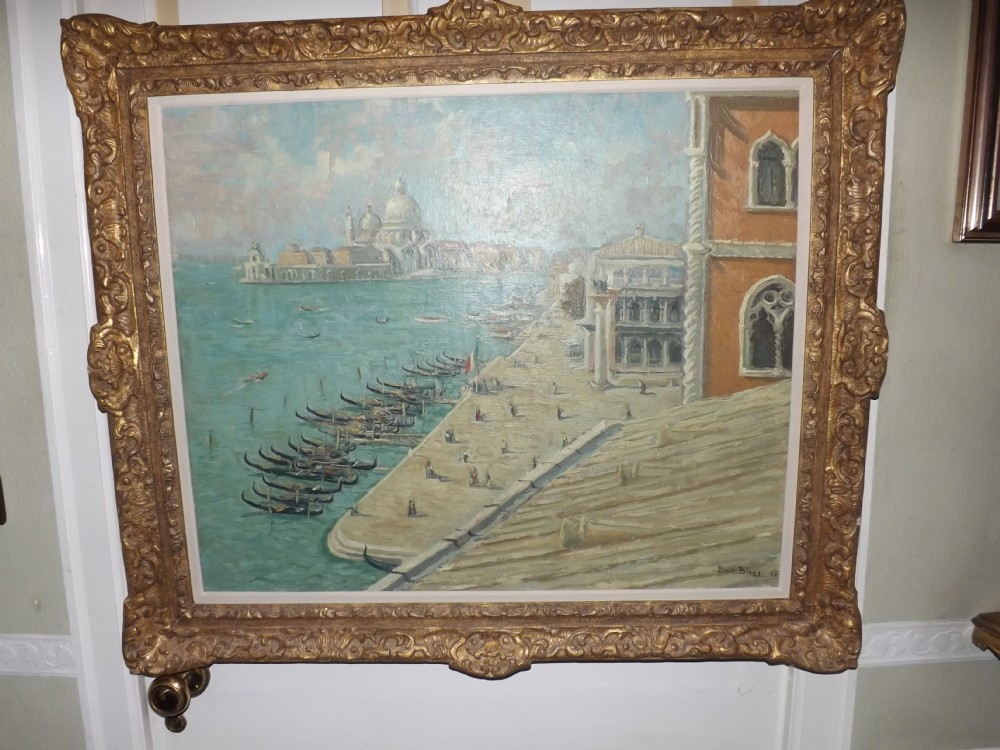mid c20th oil painting on canvas by paul bret french 19021956 view of venice