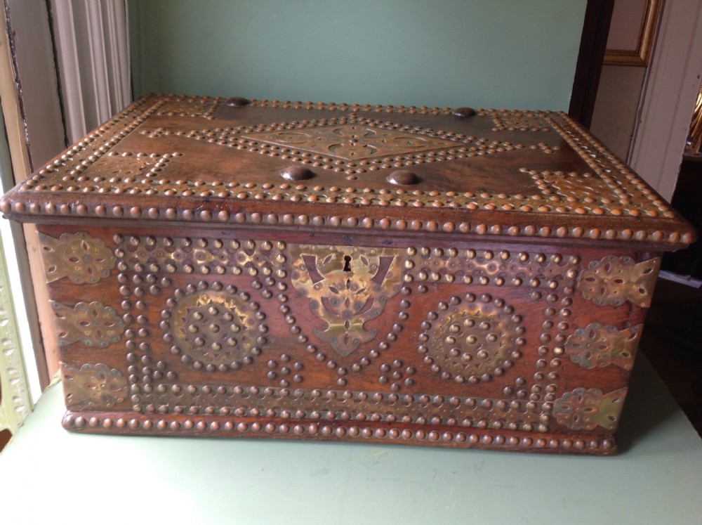 c19th indian colonial brassbound teak scribe's casket or strongbox