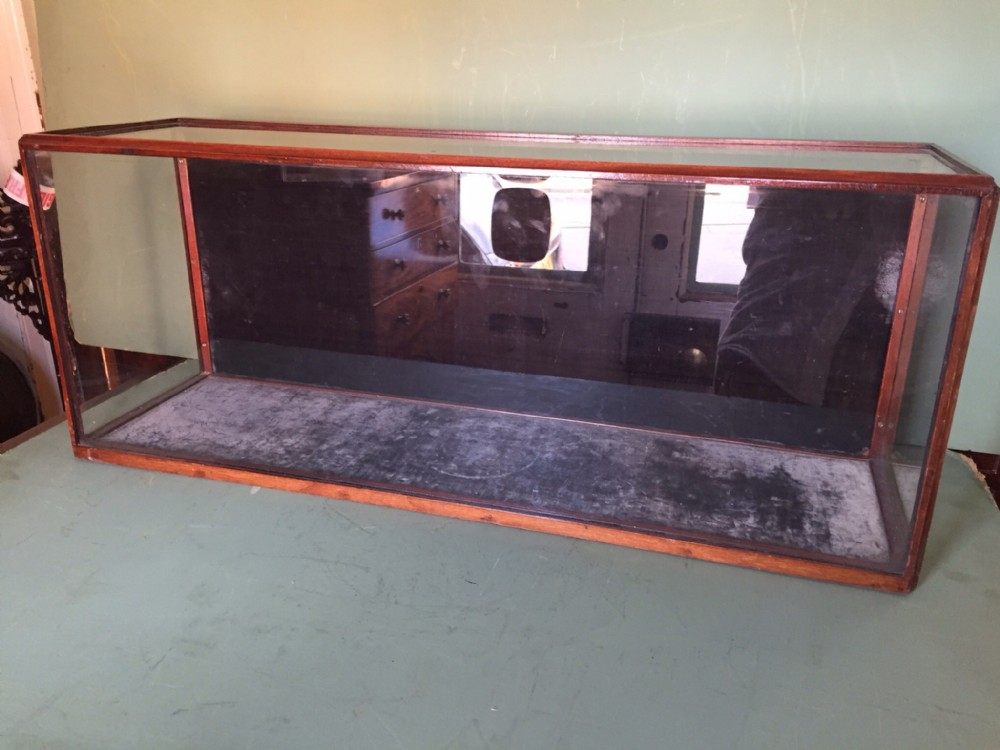 c19th mahoganyframed museumtype glazed tabletop display casecabinet