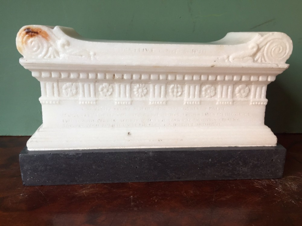 c19th italian 'grand tour' souvenir after the antique carved marble reduction of the tomb of scipio