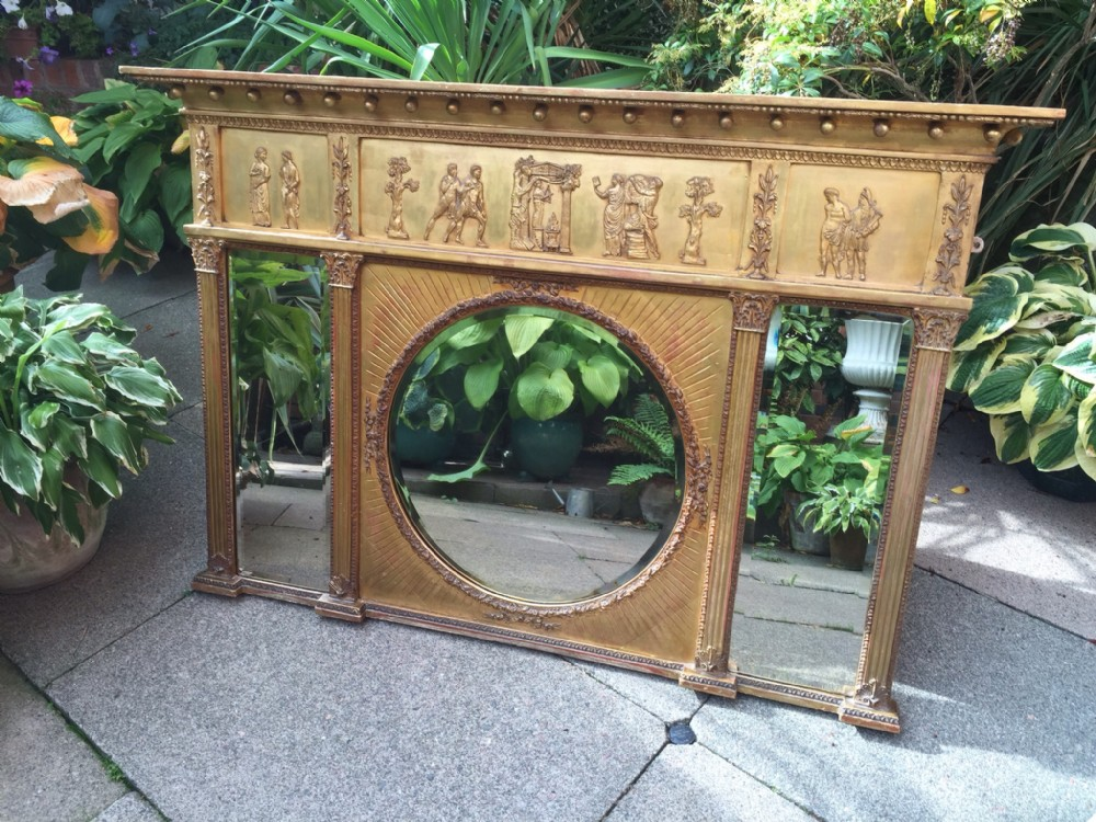 early c19th regency period giltwood 3plate overmantel mirror