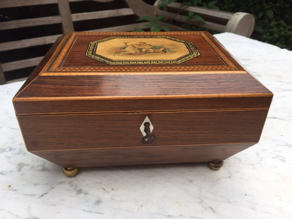 early c19th regency period rosewood ladies sewing casket