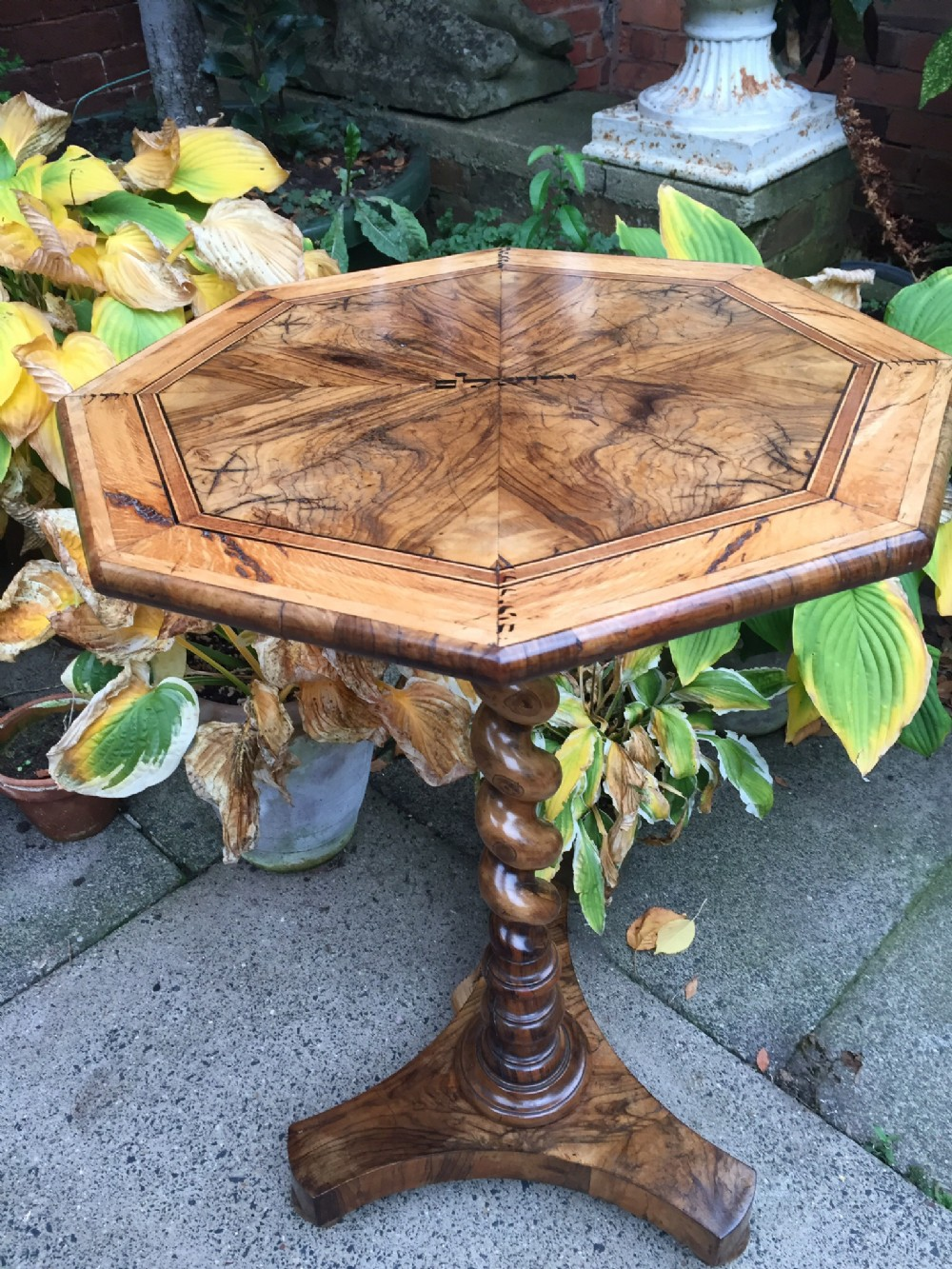 rare c19th olivewood pedestal table from the holy land with hebrew ink inscriptions