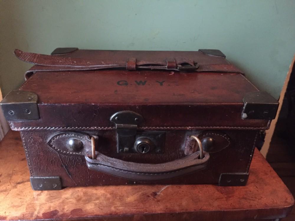 early c20th leatheronoak brass bound shotgun cartridge magazinecarrying case