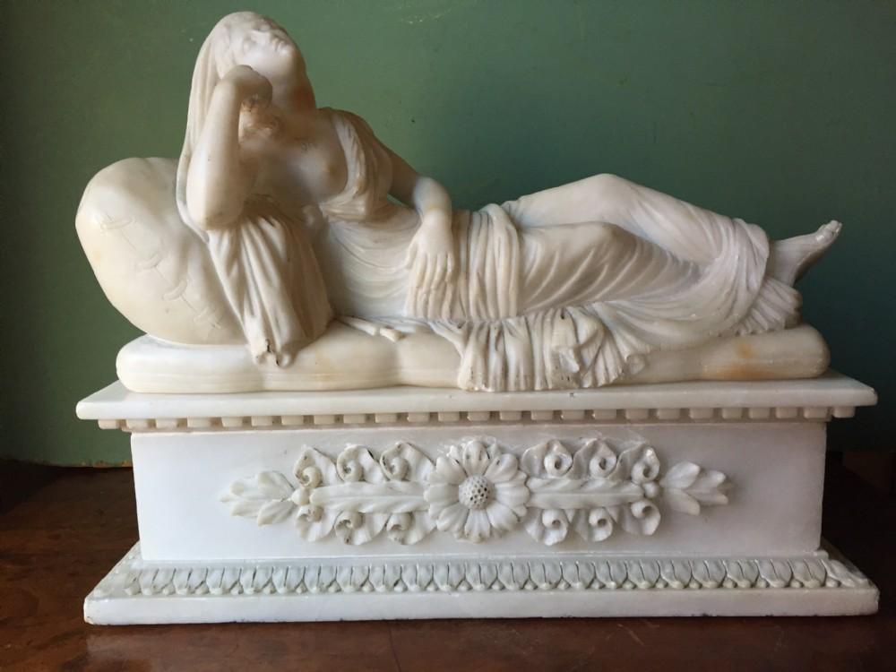 fine c19th carved alabaster sculpture study of lucretia
