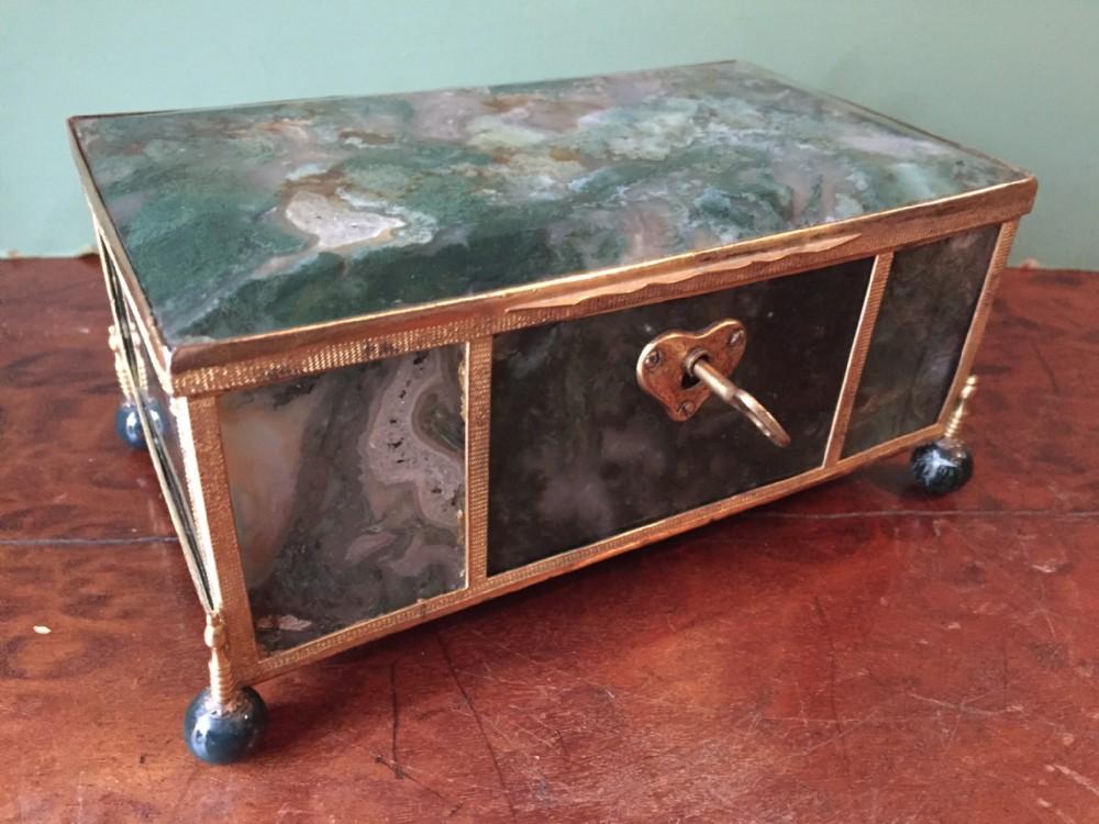 fine larger scale c19th austrohungarian giltbronze framed agate casket