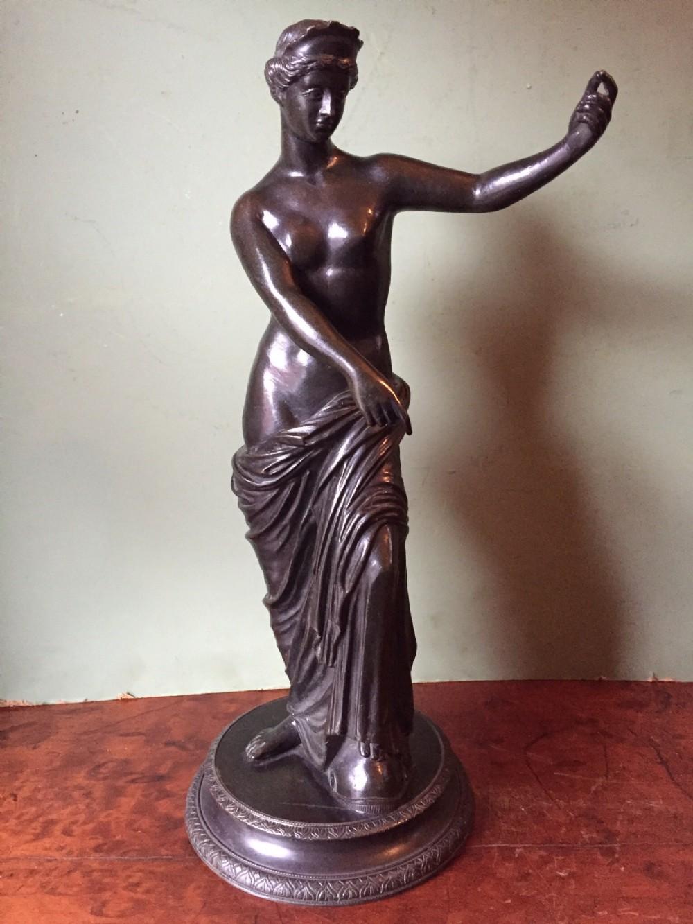 late c19th 'grand tour' souvenir bronze statue after the antique venus of capua