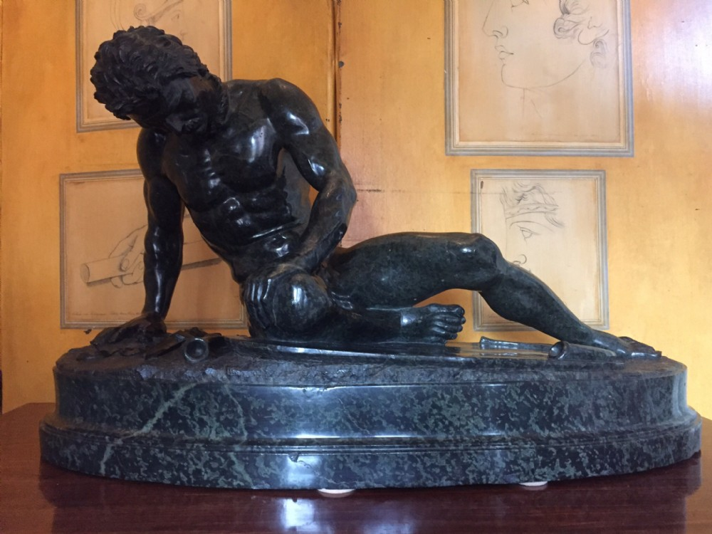 impressive late c19th largescale italian carved serpentine marble 'grand tour' souvenir sculpture after the antique the dying gaul