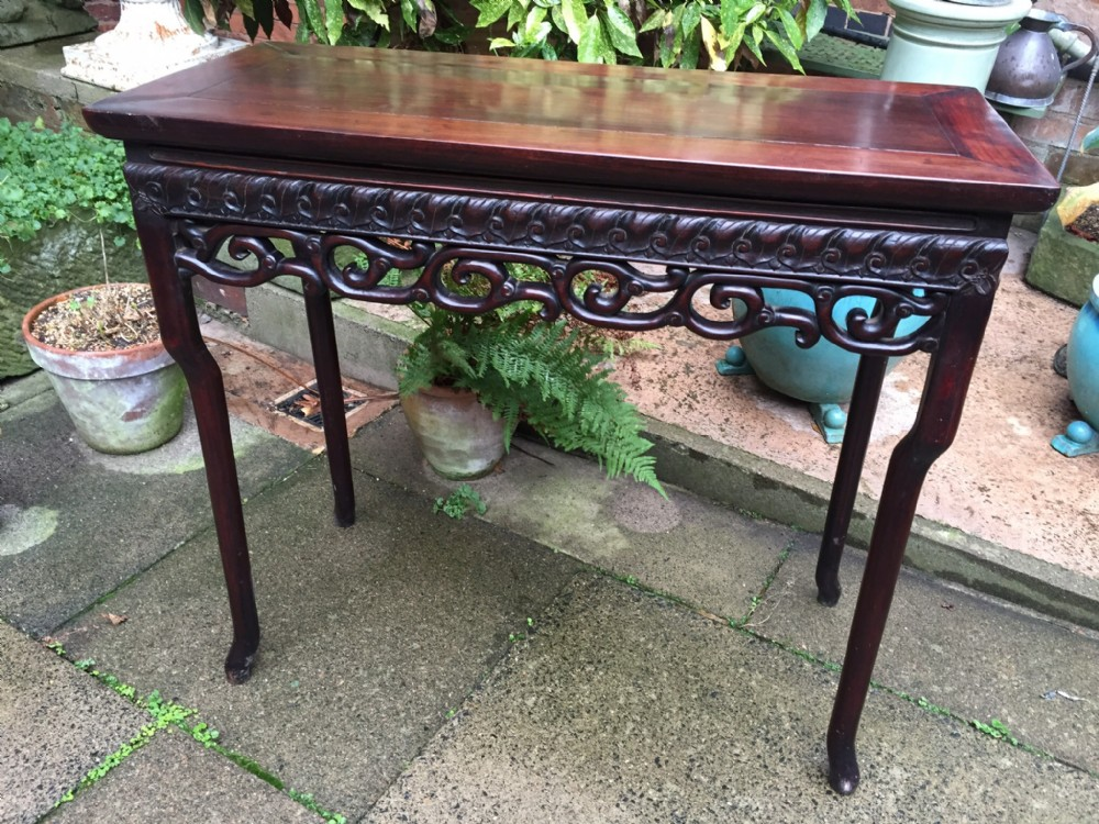 c19th chinese late qing dynasty carved hardwood centreside or console table