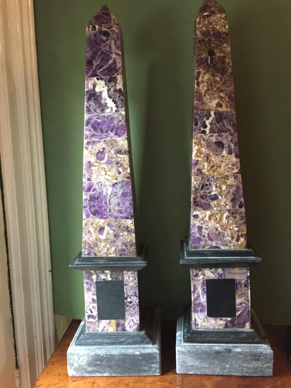 pair of largescale late c19th amethyst veneered obelisks