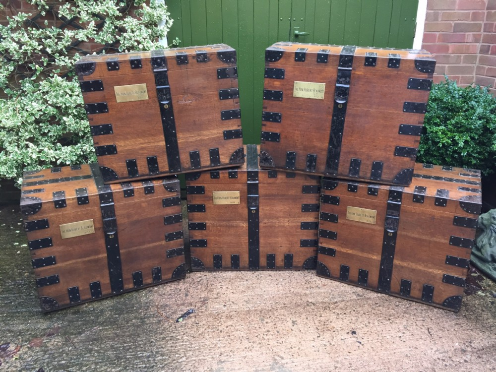 rare set of 5 numbered c19th ironbound oak countryhouse 'silverchests'