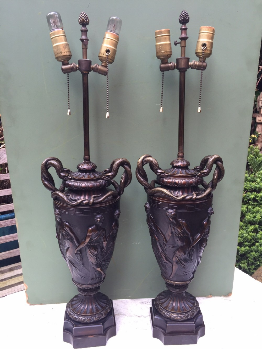 impressive pair of late c19th french bronze vasebodied lamps of classical design