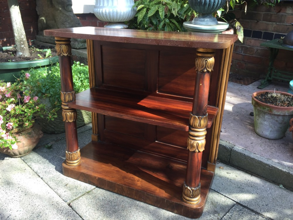 c19th george iv period simulated 'faux' rosewood open bookcase side cabinet with parcelgilt decoration and painted simulated 'faux' porphyry marble top