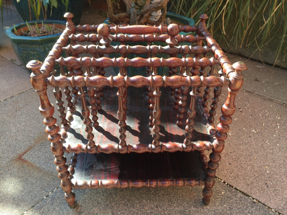 c19th french bobbinturned beech simulated faux rosewood canterbury