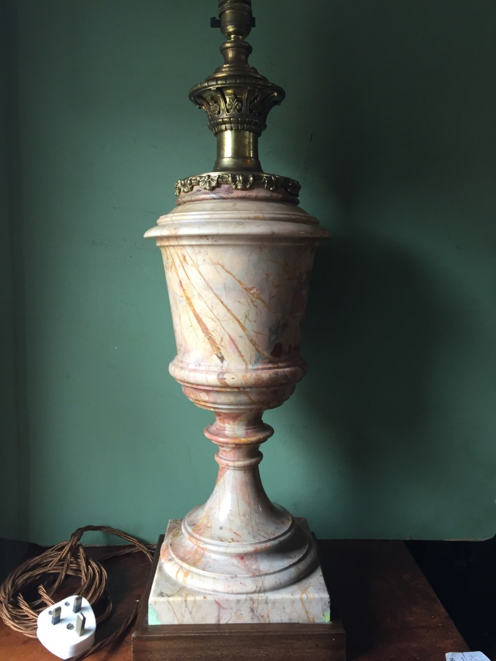 c19th french marble lamp with gilded brass mount