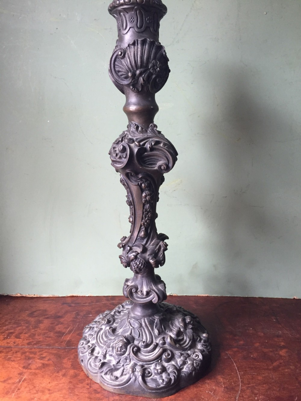 c19th cast bronze candlelamp base of rococo design