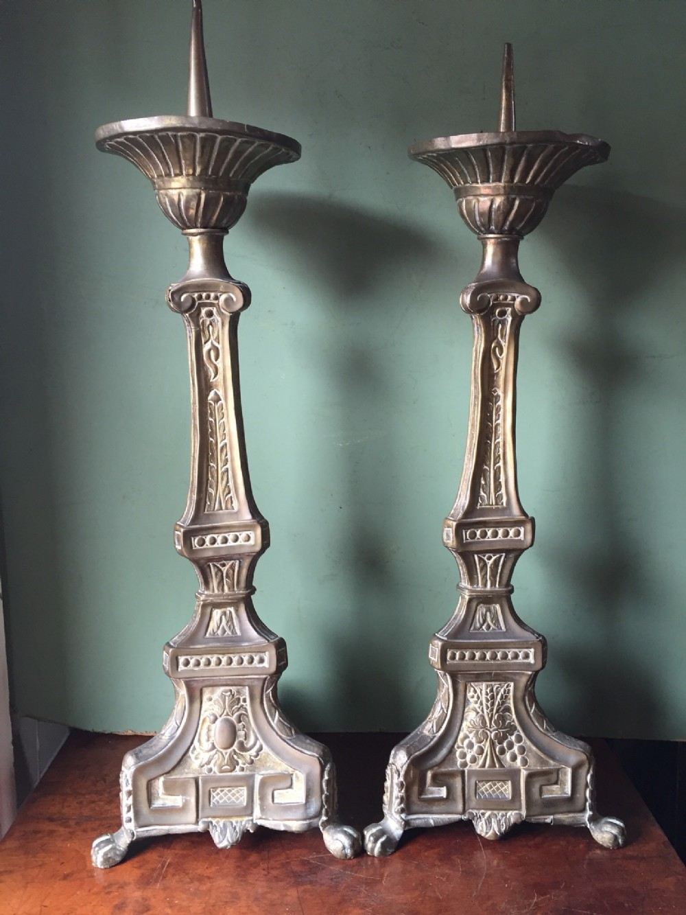 pair of c19th french pressed brass pricket candlesticks