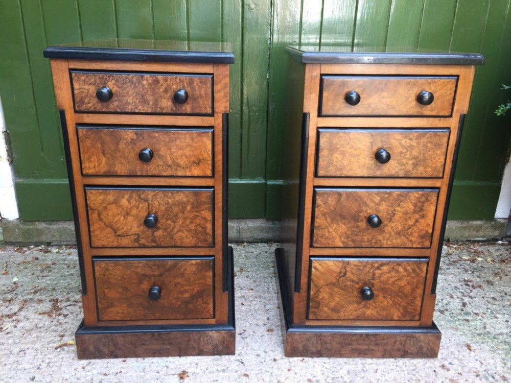 pair of c19th french walnut and burrwalnut bedside chestsofdrawers with ebonised details