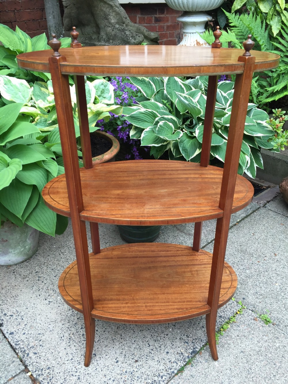 late c19th early c20th edwardian period oval satinwood 3tier etagere
