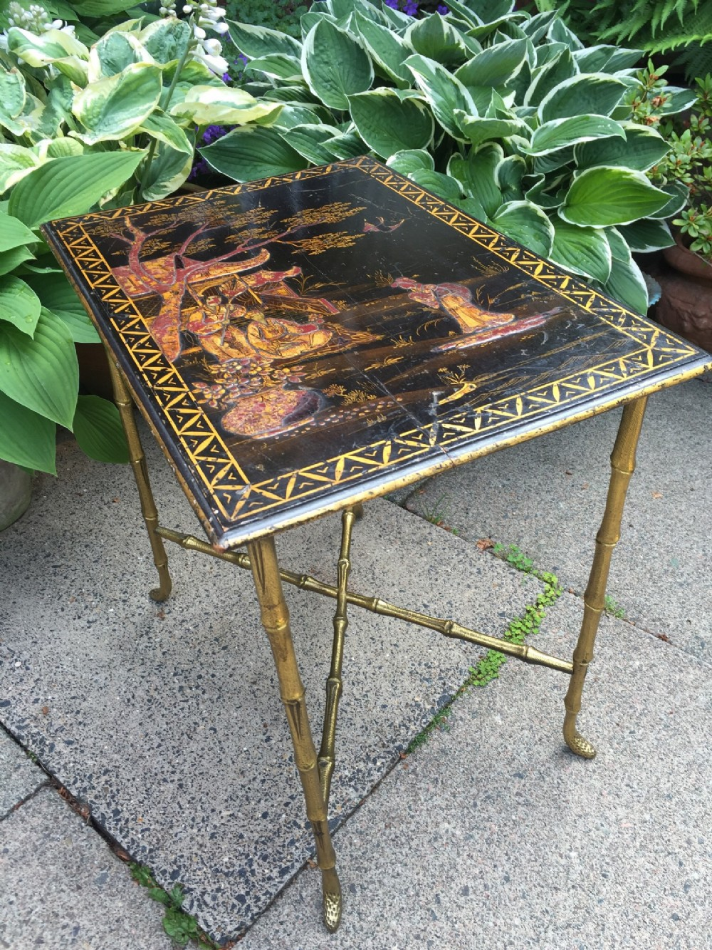 early c20th french chinoiserie lacquertop occasional table on giltbrass 'faux bamboo' base