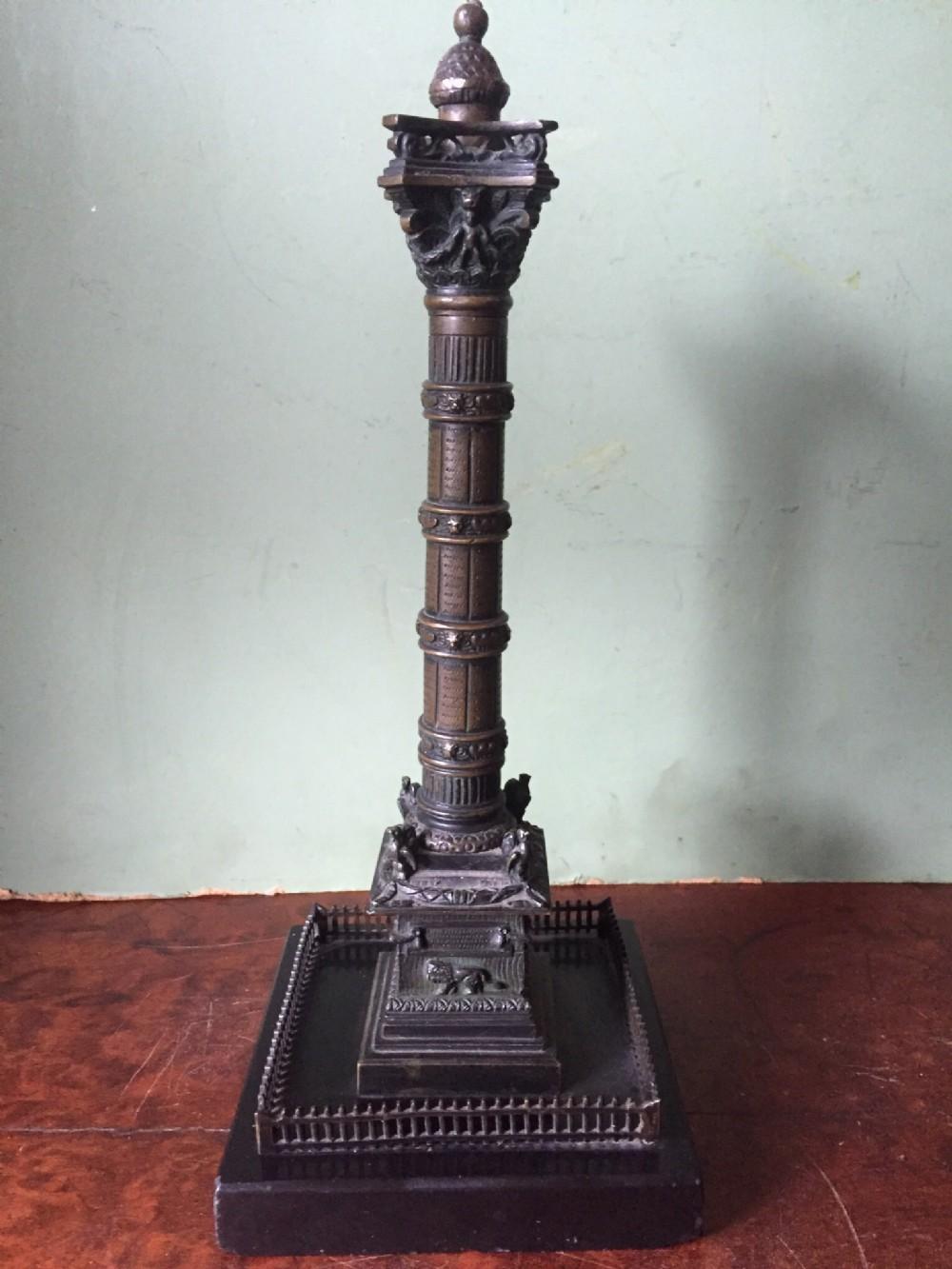 c19th french bronze 'grand tour' souvenir model of the colonne de juillet
