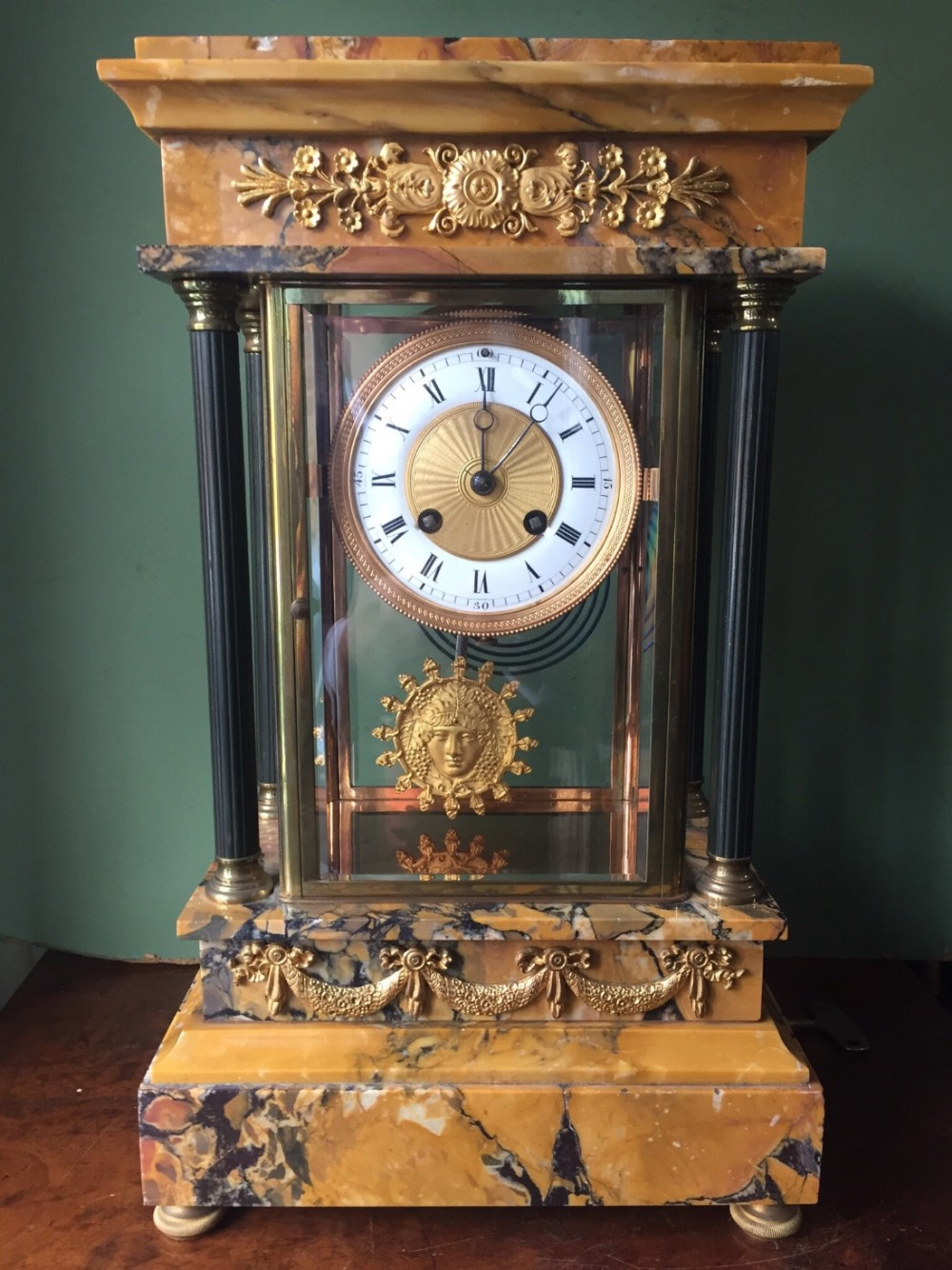 late c19thearly c20th french empire style siena marble 4glass mantel clock of architectural portico design