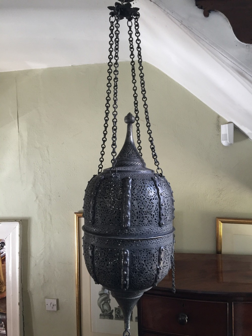 large early c20th decorative islamic design hanging lantern 'mosque' lamp