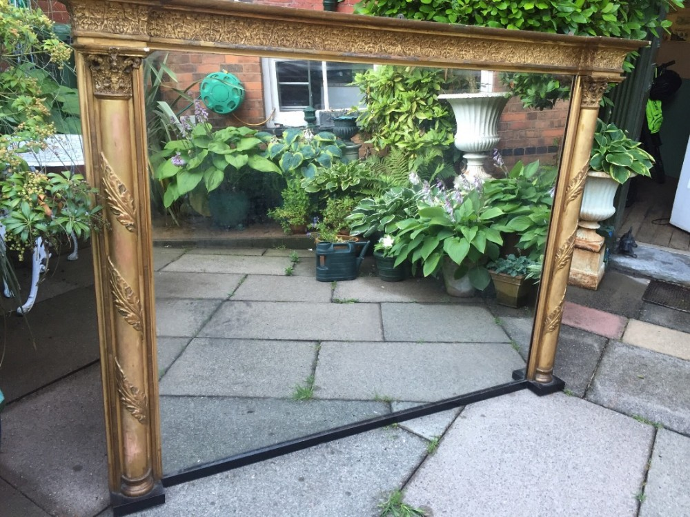 early c19th regency giltwood classical design overmantel mirror of good large scale and proportion