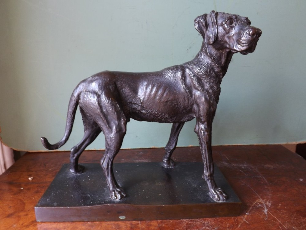 c19th french bronze 'animalier' study of an 'english pointer' in the manner of pierre jules mene