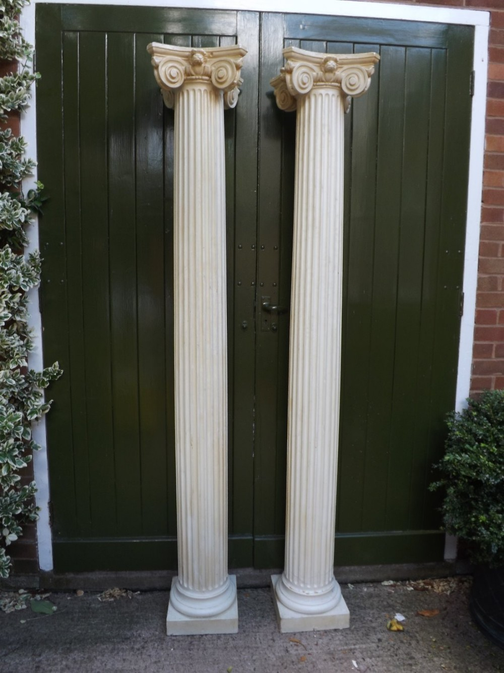 pair of late c19thearly c20th cast plaster corinthiancapped fluted architectural columns