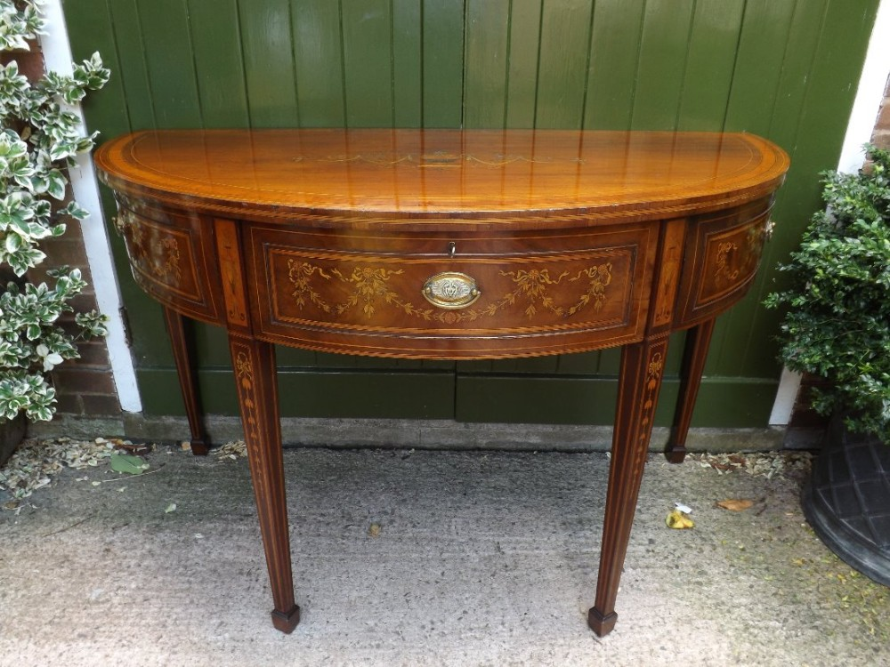 late c18th george iii period mahogany demilune side or pier table with profuse neoclassical style inlay