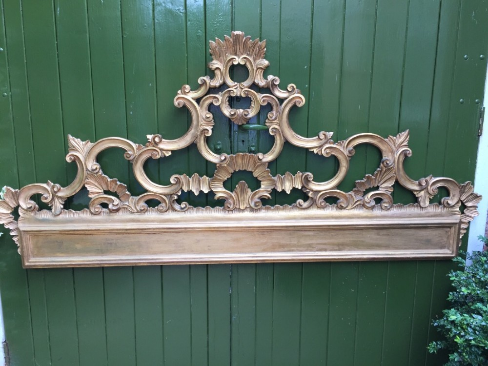 early c20th carved giltwood venetian rococo style cresting rail bedhead board